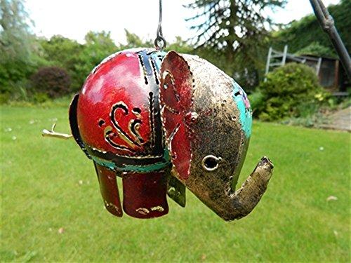 Elephant Tea light Hanging Candle Holder Metal Elephant Garden Lantern - Red Elephant Tealight