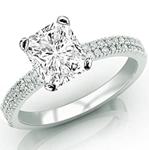 0.77 Carat Radiant Cut / Shape 14K White Gold Two Rows Of Pave Set Diamond Engagement Ring ( G-H Color , VS2 Clarity )