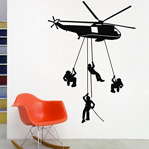 """Colorfulhall 31.49"""" X 22.44"""" Army Troops Helicopter Wall Art Quote Sticker Vinyl Kids Bedroom Soldier front-501445"""