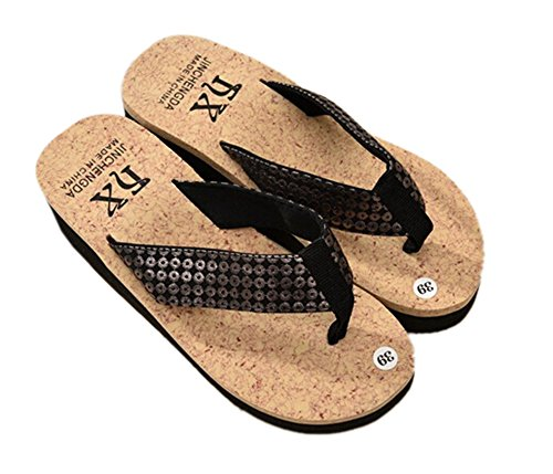Bronze Times(TM) Lady's Bling Wide Strap Platform Wedge Thong Flip Flops