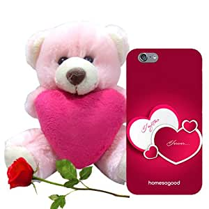 Homesogood Together Forever Pink 3D Mobile Case For iPhone 6 (Back Cover) With Teddy & Red Rose