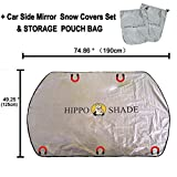 Magnetic Windshield Snow Cover & Mirror Covers Used for Storage Pouch - Ice Sun Frost and Wind Proof in All Weather, Fit for Most Vehicle with Size 74.86''×49.25''