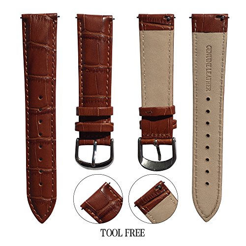 Genuine Leather Watch Band, Quick Release Watch Bands, Replacement Watch Bands for Men and Women, Easy Swap, Change in Seconds [22mm Brown] (Waltham Mens Watch compare prices)