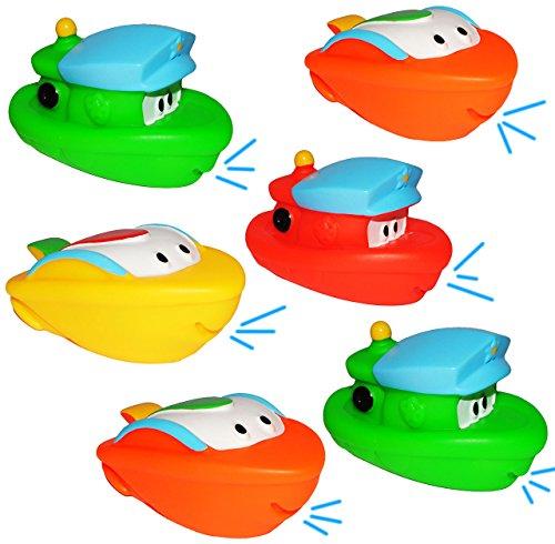 3 Set: Gummifigur - 6 Stück Boote und Schiffe - Tiere / Gummifiguren - zum Wasser Spritzen - für Baby ab 0 Monate - Quietschtier Schiffejagd - Schiffe / Figur Quietschfigur Badefiguren / Badetiere - Quietsch / Badewanne - Badewannenspielzeug Baby´s - auch für Hunde geeignet / Gummifigur