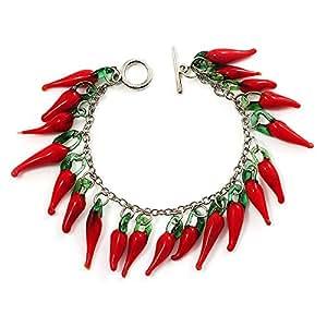 Bracelet pendentif piment rouge en verre - longueur 18cm