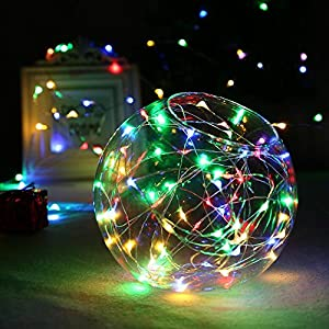 [Upgraded Timing Function]LuckLED Battery Operated Starry String Lights, 21ft 60LED Fairy Decorative Copper Wire Rope lights for Indoor/Outdoor, Home, Valentine's day, Christmas Decor(Multi-Color)