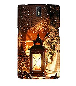 Omnam Laltern Lying In Cold Snow Printed Designer Back Cover Case For One Plus One