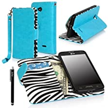 buy Lg Optimus L70 Case, E Lv Lg Optimus L70 Case Deluxe Pu Leather Flip Wallet Case Cover For Lg Optimus L70 With 1 Black Stylus - Blue