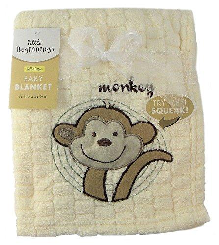 Little Beginnings Baby Blanket - Yellow Waffle Fleece - Monkey - Try Me, I Squeak! - 1