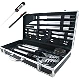 Teikis® 19-Piece Deluxe Stainless Steel BBQ Tool Set With Storage Case - Includes Spatula with Bottle Opener, Fork, Tongs, Knife, grill&Basting Brush, Steak Knives, Corn Holders and Digital Thermometer