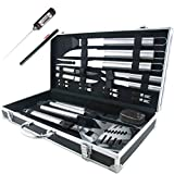 Teikis 19-Piece Deluxe Stainless Steel BBQ Tool Set With Storage Case - Includes Spatula with Bottle Opener, Fork, Tongs, Knife, grill&Basting Brush, Steak Knives, Corn Holders, Digital Thermometer and Storage Case