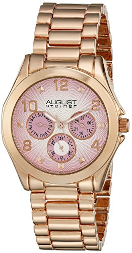 August Steiner Women's Analog Display Japanese Quartz Rose Gold Watch