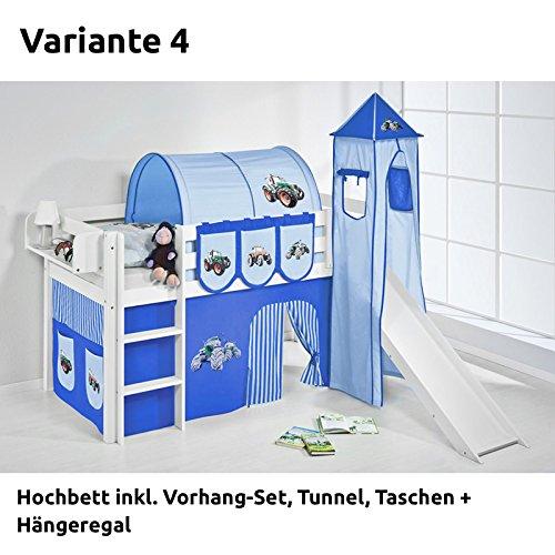 Hochbett Spielbett JELLE Trecker Blau mit Turm, Rutsche und Vorhang, weiß, Variante 4