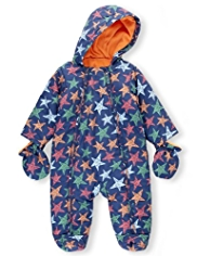 Hooded Star Print Pramsuit with Mittens
