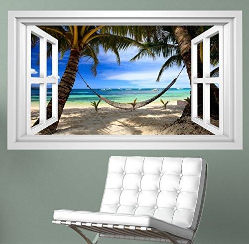 3d wandmotiv meer strand palmen h ngematte fenster. Black Bedroom Furniture Sets. Home Design Ideas
