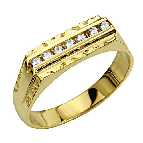 14K Yellow Gold CZ Cubic Zirconia High Polish Finish Men's Wedding Ring Band (Size 8 to 13) - Size 8.5