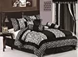 Chezmoi Collection 8-piece black and white micro fur zebra with giraffe design comforter 90-inch by 92-inch bed-in-a-Bag Set Queen Size Beds