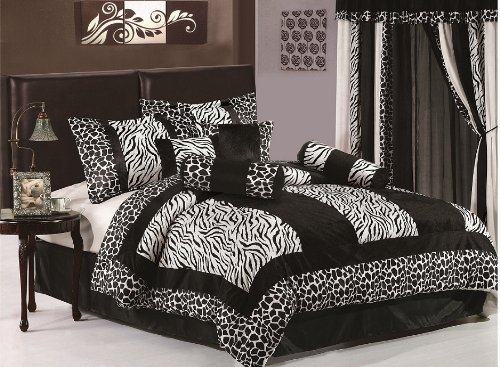 "Chezmoi Collection 8pcs Black & White Micro Fur Zebra with Giraffe Design Comforter 104""x92"" Bed-in-a-bag Set King Size Bedding"