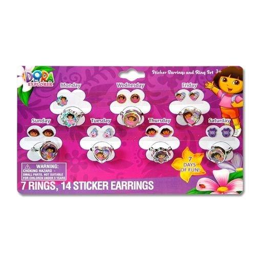 Dora The Explorer Sticker Earrings and Rings Set