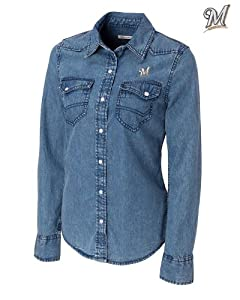 Milwaukee Brewers Ladies L S Wild Card Denim Shirt Denim by Cutter & Buck