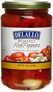 DeLallo Roasted Red Peppers w/Garlic, 12-Ounce Jars (Pack of 12)