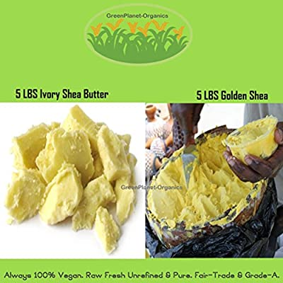 10 LB Combo: Ivory + Golden Shea Butter 5 LBS Each (Raw, Unrefined And Fresh)