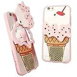 MAMiO かわいいミラー付きiPhoneケース アイスクリームをくるっと回すと鏡になっているスマホカバー 5.5インチ(iPhone 6 Plus/6S Plus)