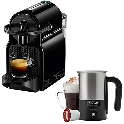 Nespresso Inissia Espresso Maker - Black (D40-US-BK-NE) with Aroma Stainless Steel One Serving Milk Frother