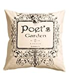 "French Vintage Accent Decorative 100% Cotton Canvas Throw Pillow Cover Cushion 20 X 20"" Poet's Graden (Natural White)"