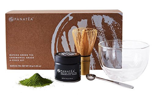 PANATEA Matcha Green Tea Set 100% Pure Ceremonial Grade Japanese Matcha Powder - Includes 30 Gram Matcha Tin, Measuring Scoop, Bamboo Whisk and aDouble Wall Glass Bowl the Perfect Matcha Starter Kit (Eden Pure Advantage compare prices)