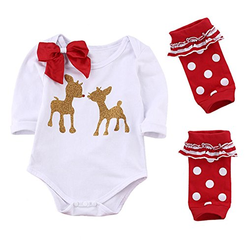 MIOIM Newborn Baby Boys Girls Cute Xmas Romper Bodysuit Jumpsuit Pajamas Outfits