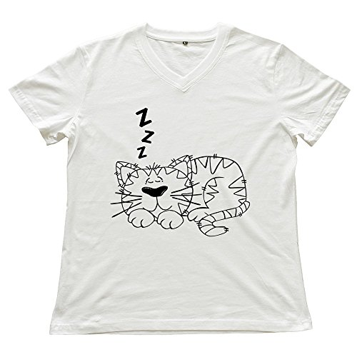Zya6W Cartoon Cat Sleeping V Neck Ladies Cool T-Shirts White Xl