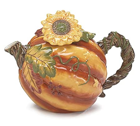 Autumn Pumpkin Shaped 52 Oz Teapot with Sunflower Unique Teapot
