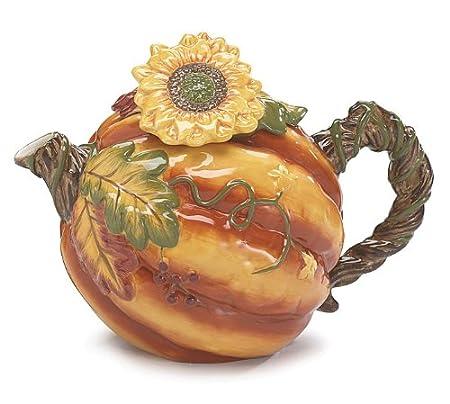Autumn Pumpkin Shaped 52 Oz Teapot with Sunflower Unique Teapot