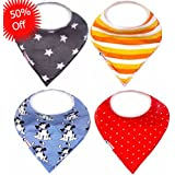 Uthropia Baby Bandana Drool Bibs,4 Pack Unique Designs,Best Gift For Boys and Girls