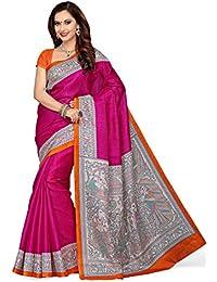 Rani Saahiba Madhubani Printed Art Bhagalpuri Silk Saree(SKR1759_Pink - Orange)