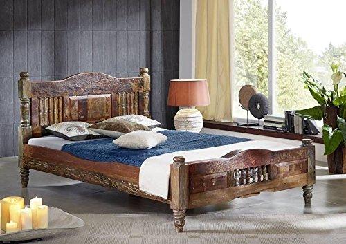 Massivmöbel Vintage massiv Holz Möbel Bett 160x200 Altholz lackiert mehrfarbig Massivholz Rapunzel #22