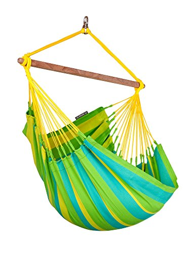 LA SIESTA Sonrisa High Comfort and Rip Proof Hammock Chair with Spreader Bars, Lime