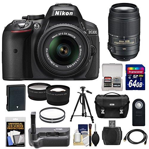 Nikon D5300 Digital Slr Camera & 18-55Mm G Vr Dx Ii Lens (Black) With 55-300Mm Vr Lens + 64Gb Card + Battery + Case + Grip + Tele/Wide Lens Kit