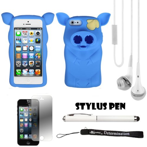 Blue Pig Nose Durable Protective Silicone Skin With Earphone Wrap Access For Apple Iphone 5 Ios (6) Smart Phone + White Crystal Clear High Quality Hd Noise Filter Handsfree Earbuds ( 3.5Mm Jack ) + Apple Iphone 5 Screen Protector + Professor Pen 3 In 1 Re