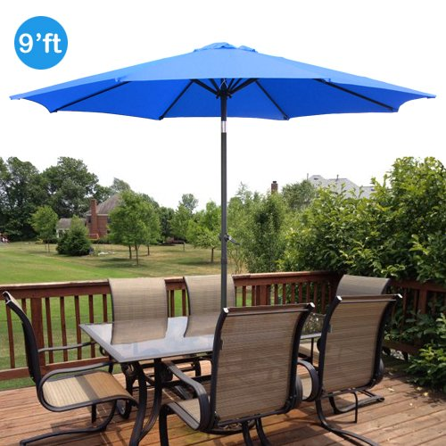 9ft outdoor patio umbrella aluminum w tilt crank blue on sale
