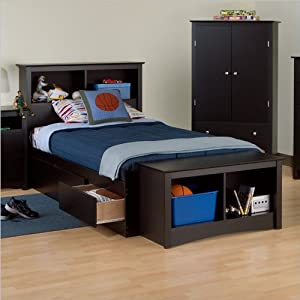 prepac black sonoma twin xl bookcase platform storage bed kitchen dining. Black Bedroom Furniture Sets. Home Design Ideas