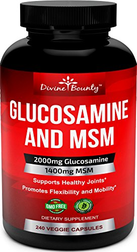Glucosamine Sulfate Supplement (2000mg per serving) with MSM - 240 Small Vegetarian Capsules - No Shellfish, GMO