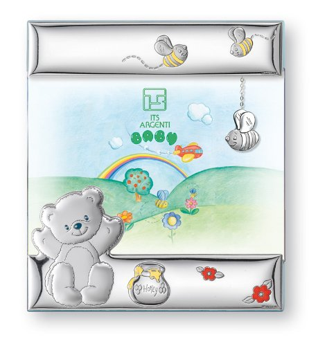Silver Touch USA Sterling Silver Bear Honey and Bees Picture Frame, Blue