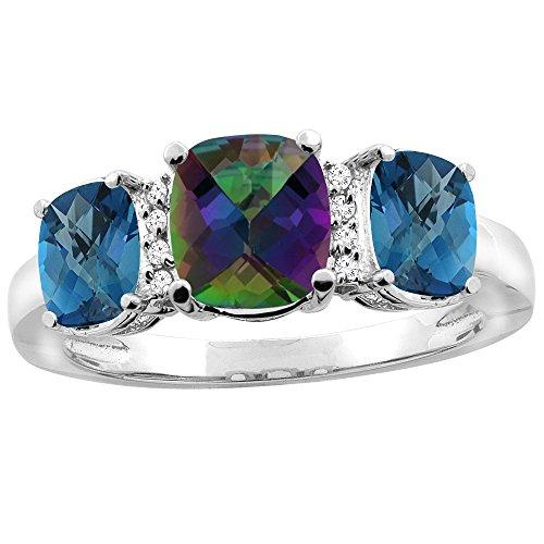 10K White Gold Natural Mystic Topaz & London Blue Topaz 3-stone Ring Cushion 8x6mm Diamond Accent