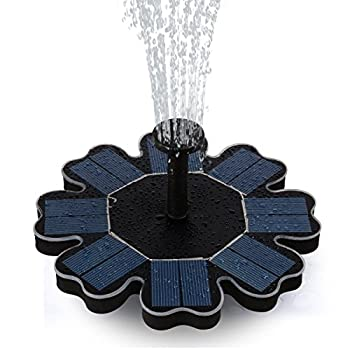 FEELLE Solar Powered Fountain Pump 8V 1.6W Solar Panel Floating Water Fountain Pump Kit for Bird Baths Pool Pond Garden