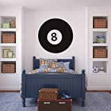 Pool 8 Ball Wall Stickers Pool Wall Decal Art available in 5 Sizes and 25 Colours Large Black