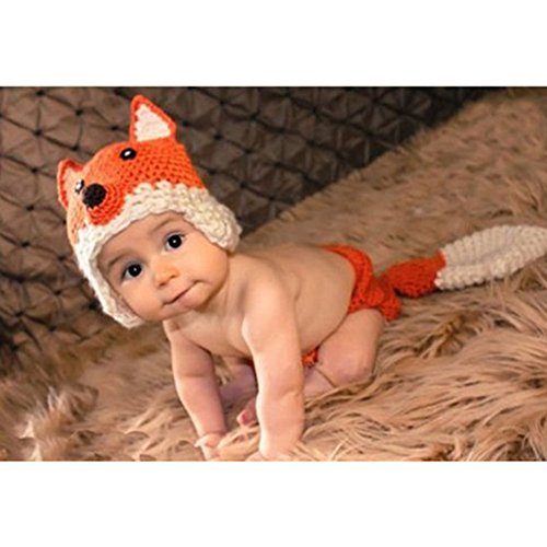 Newborn Baby Knit Crochet Clothes 2PCS Beanie Hat Props Fox Design 0-3 M