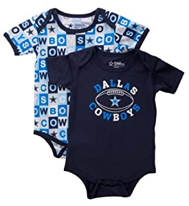 Dallas Cowboys Navy Honey Bun Bodysuit 2pk Onesie Set by Dallas Cowboys Team Apparel