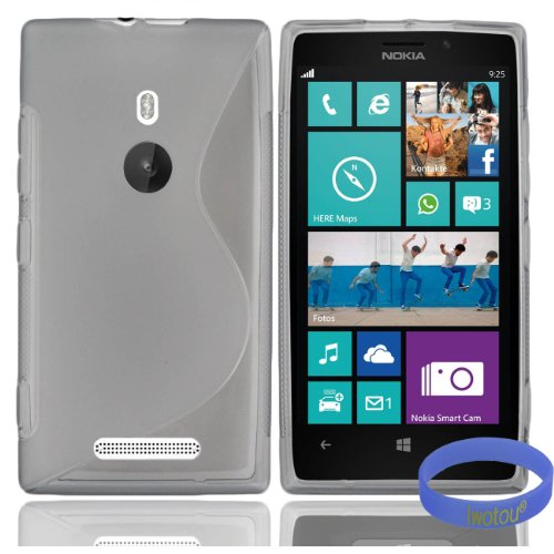 Iwotou S-Line Rubber Skin Soft TPU Gel Case Cover for Nokia Lumia 925 (AT&T, T-Mobile) + Free Accessories (Lumia 925, Gray)